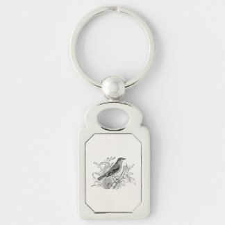 Vintage Nightingale Bird Personalized Retro Birds Key Ring