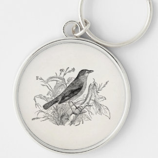 Vintage Nightingale Bird Personalized Retro Birds Silver-Colored Round Key Ring