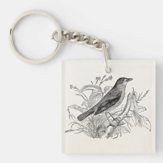 Vintage Nightingale Bird Personalized Retro Birds Single-Sided Square Acrylic Key Ring
