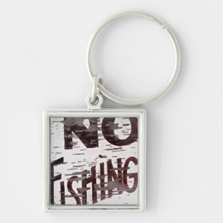 Vintage No Fishing Sign Silver-Colored Square Key Ring