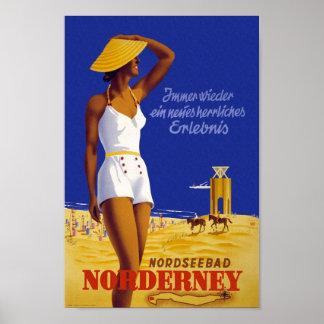 Vintage Nordseebad Norderney Travel Poster