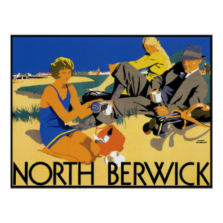 Vintage North Berwick Beach Poster