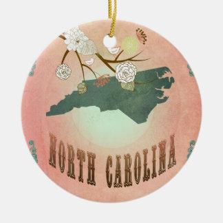 Vintage North Carolina State Map- Pastel Peach Round Ceramic Decoration