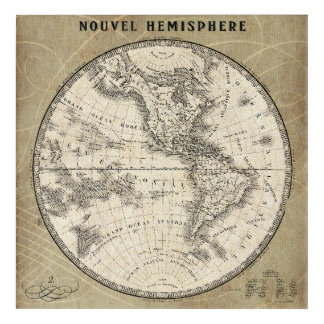 Vintage Northern Hemisphere Map Acrylic Wall Art