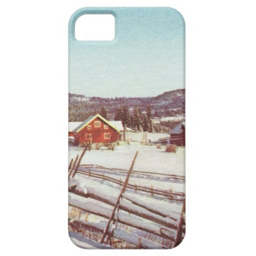 Vintage Norway, farmhouse at Christmas iPhone 5 Covers