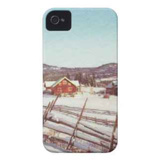 Vintage Norway, farmhouse at Christmas iPhone 4 Cases