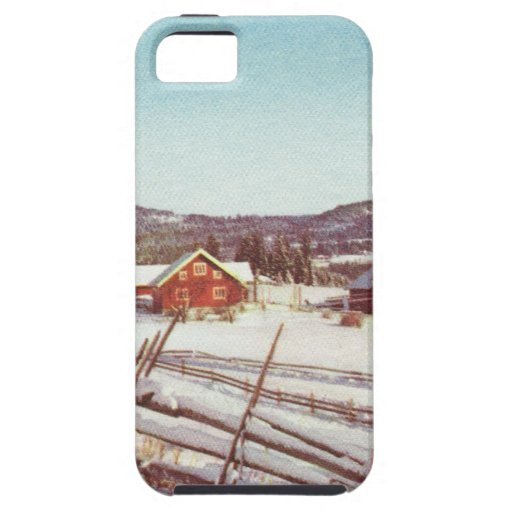 Vintage Norway, farmhouse at Christmas iPhone 5 Case