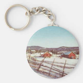 Vintage Norway farmhouse at Christmas Key Chains