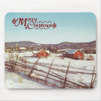 Vintage Norway, farmhouse at Christmas Mouse Pad