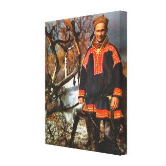 Vintage Norway, Lapland, Sami and reindeer Canvas Print