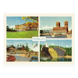 Vintage Norway Oslo multiview Postcard