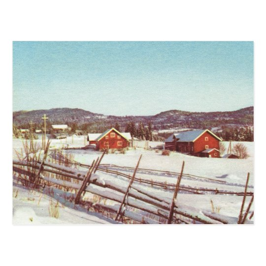 Vintage Norway, Red farmhouses in the mountains Postcard