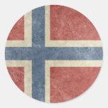 Vintage Norway Round Stickers