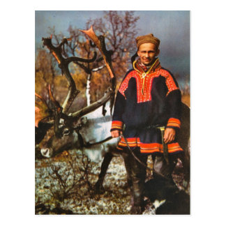 Vintage Norway, Sami and his reindeer Postcard