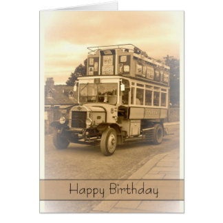 Vintage, Nostalgia, Retro Birthday Card - Old Bus