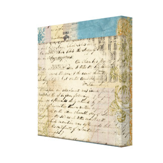 vintage note collage stretched canvas print