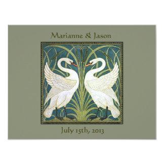 Vintage Nouveau Swans Wedding Invitation 2
