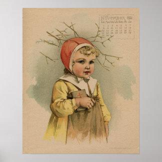 Vintage November 1891 beautiful children drawing Poster