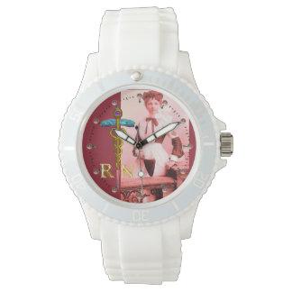 VINTAGE NURSE and Gold Caduceus NR Emblem Wrist Watch