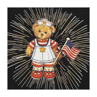 Vintage Nurse Bear with Modern White Fireworks Gallery Wrap Canvas