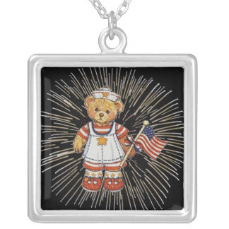 Vintage Nurse Bear with Modern White Fireworks Silver Plated Necklace