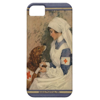 Vintage Nurse with Golden Retriever Custom Name Barely There iPhone 5 Case