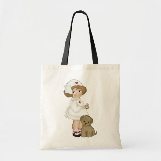 Vintage Nurse With Puppy T-shirts and Gifts Tote Bag