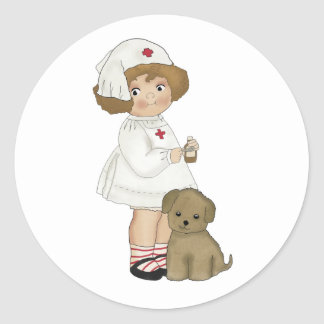 Vintage Nurse With Puppy T-shirts and Gifts Classic Round Sticker