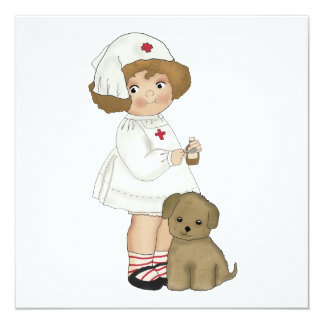 Vintage Nurse With Puppy T-shirts and Gifts Personalized Invite
