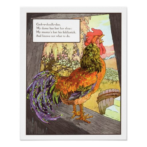 Vintage Nursery Print- Cockerel Poster