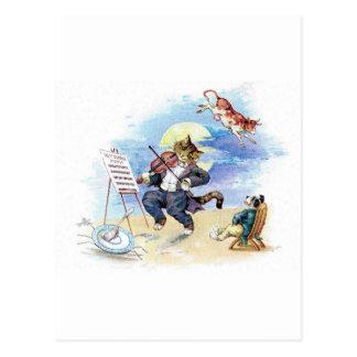 Vintage Nursery Rhyme Hey Diddle, Cat Fiddle art Postcard