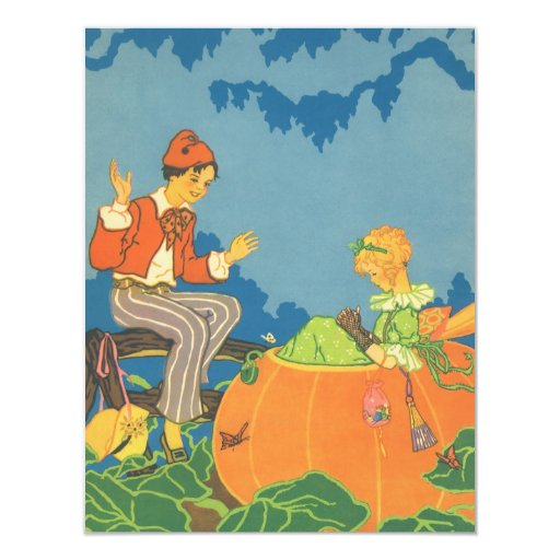 "Vintage Nursery Rhyme, Peter Peter Pumpkin Eater 4.25"" X 5.5"" Invitation Card"
