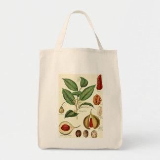 Vintage nutmeg illustration groceries tote bag