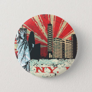 Vintage NY in Red 6 Cm Round Badge
