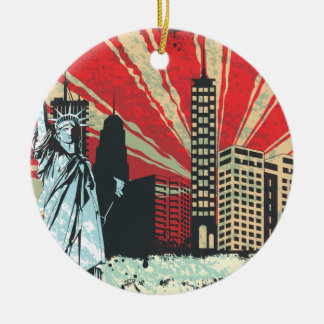 Vintage NY in Red Christmas Ornament