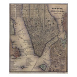 Vintage NYC and Brooklyn Map (1847) Poster