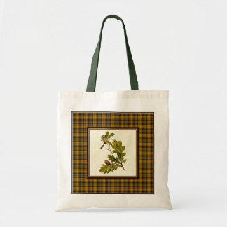 Vintage Oak Leaves with Plaid Tote Bag