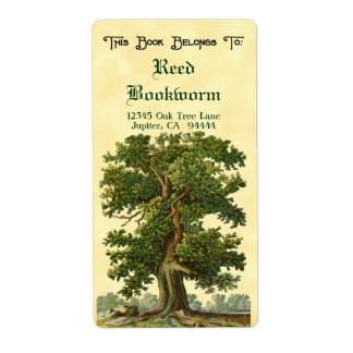 Vintage Oak Tree Custom Bookplate Label Shipping Label