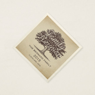 Vintage  Oak Tree Family Reunion Personalized Paper Napkin