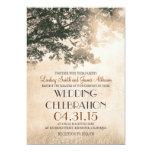 Vintage oak tree & love birds wedding invites