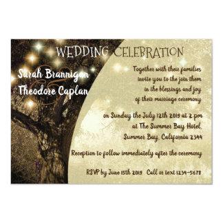 Vintage Oak Tree night lights wedding Card