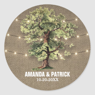 Vintage Oak Tree Rustic Lights Wedding Favors Classic Round Sticker