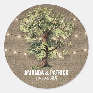 Vintage Oak Tree Rustic Lights Wedding Favors Round Sticker