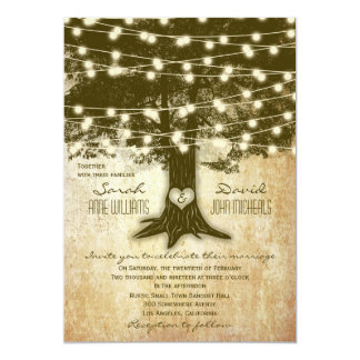 Vintage Oak Tree Rustic String Lights Wedding Card