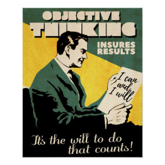 Vintage 'Objective Thinking' Motivation poster