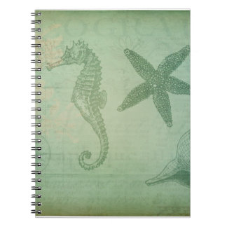 Vintage Ocean Animals and Seashells Spiral Notebook