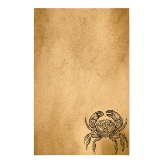 Vintage Ocean Crab Parchment Personalised Template Stationery