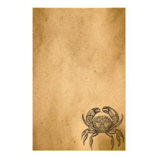 Vintage Ocean Crab Parchment Personalized Template Stationery