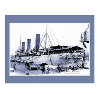 Vintage Ocean Liner SS Burdigala at Bordeaux Postcard