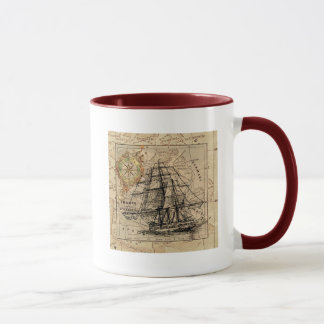 Vintage Ocean Map and Ship Combo Mug